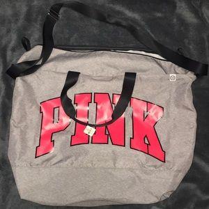 Pink duffel bag